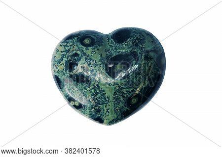 Macro Mineral Stone Jasper Kambaba, Heart Shaped On White Background, Close Up