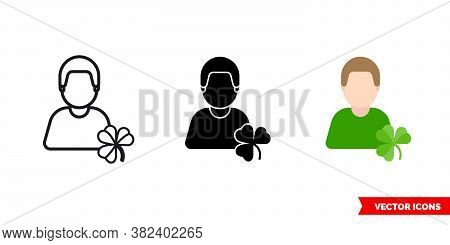 Irishman Icon Of 3 Types Color, Black And White, Outline. Isolated Vector Sign Symbol.