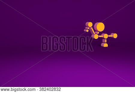 Orange Cannabis Molecule Icon Isolated On Purple Background. Cannabidiol Molecular Structures, Thc A
