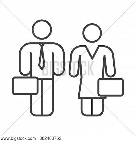 Business People Icon. Man And Woman With Diplomats. Simple Linear Image. Isolated Vector On A Pure W