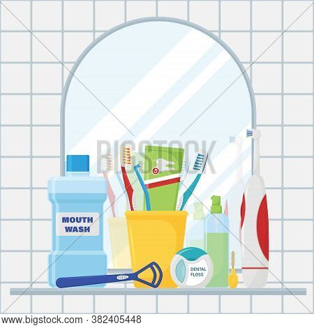 Composition Of Items For Cleaning Teeth And Oral Care. The Concept Of The Bathroom With A Mirror And