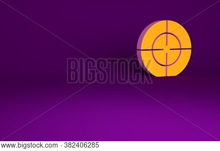 Orange Target Sport Icon Isolated On Purple Background. Clean Target With Numbers For Shooting Range