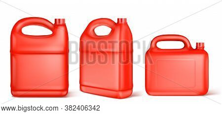Red Plastic Canister For Liquid Fuel, Chlorine, Motor Oil, Car Lubricant Or Detergent. Vector Realis