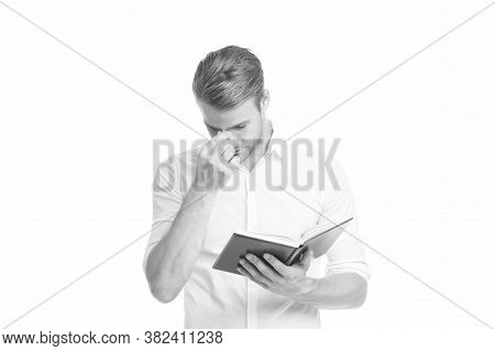 Tired Eyes. Businessman Hold Book. Reading Book. Find Inspiration In Book. University Male Student W