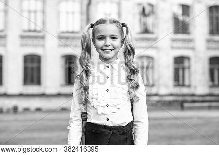 Be Smart. Happy Girl Outdoors. Child Girl Back To School. Little Girl Wear School Uniform. Primary S