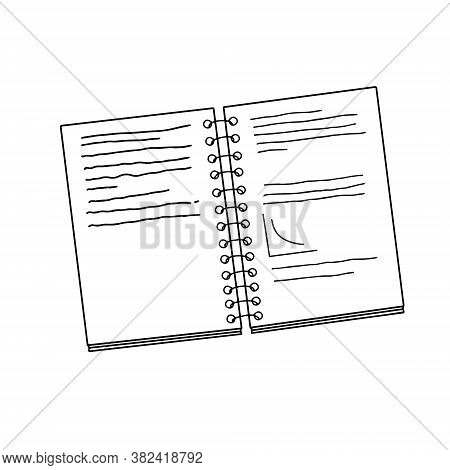 Copybook School Accessory In Hand Drawn Doodle Style Vector Illustration, Back To School Concept Ima