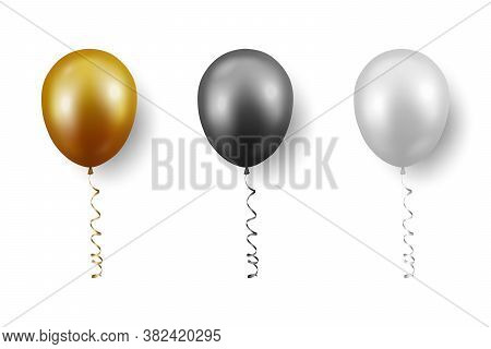 Vector 3d Realistic Metallic Golden, Black, White Balloon With Ribbon Set Closeup Isolated On White