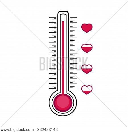 Thermometer Measuring The Level Of Love. A Romantic Device That Measures The Heart's Fullness. Check