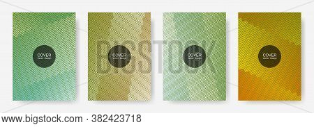 Zig Zag Lines Halftone Banner Templates Set, Gradient Stripes Texture Vector Backgrounds For   Bookl