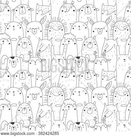 Seamless Pattern With Animals Bear, Fox, Ferret, Cat, Llama, Hedgehog, Wolf, Hamster, Sheep, Deer, D