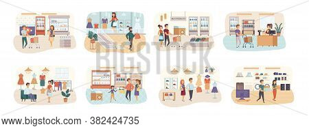Shopping Bundle Of Scenes With Flat People Characters. Weekend Shopping In Mall Conceptual Situation