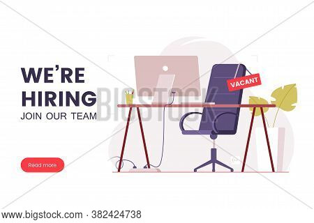 Job Offer Banner Design. Workplace In The Office With An Empty Chair And A Vacancy Sign. Search For