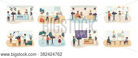 Journalism Bundle Of Scenes With Flat People Characters. Breaking News, Interviewing And Live Show C