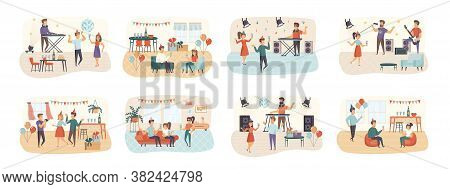 Party Bundle Of Scenes With Flat People Characters. Happy Friends Celebrating Holiday, Dancing In Ni