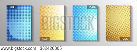Tech Dot Faded Screen Tone Cover Page Templates Vector Kit. Scientific Flyer Perforated Screen Tone