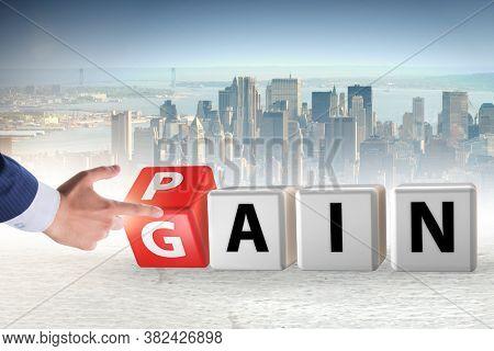 No pain no gain concept with businessman