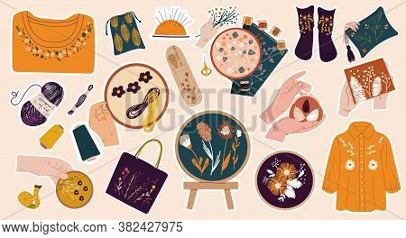 Collection Of Sewing And Needlework Stickers Showing Accessories, Embroidery, Yarn And Assorted Garm
