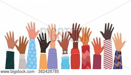Open Hands Up Of Different Types Of Skins Design, Diversity People Multiethnic Race And Community Th