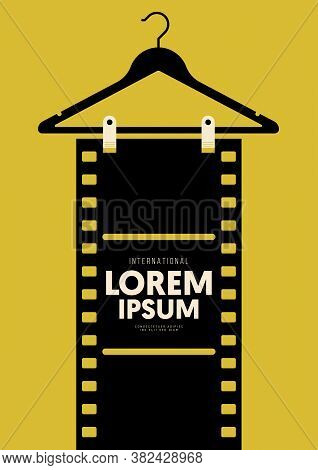 Movie And Film Poster Design Template Background With Vintage Film Stripe. Graphic Design Element Ca