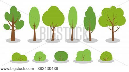 Set Of Flat Green Spring Cartoon Trees Bushes Icons. Simple Different Shape Eco Organic Plant Sign.