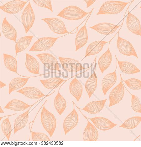 Wrapping Tea Leaves Organic Seamless Pattern Vector. Decorative Tea Plant Bush Pink Leaves Floral Fa