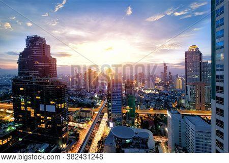Beautiful View Of Bangkok Cityscpae Area Sunset View