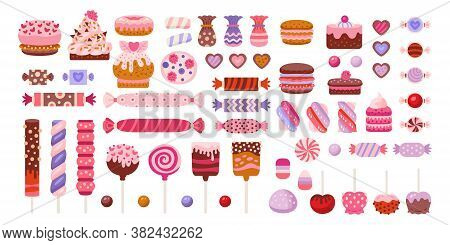 Valentine Day Sweets Set. Candies, Candy Cane And Lollipop Marshmallow, Hard Candy, Dragee, Cake Pop