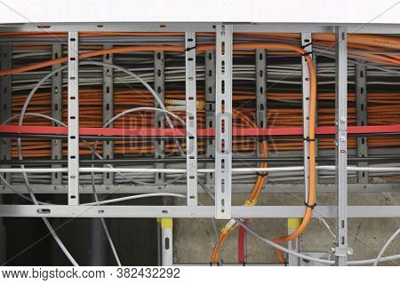 Power Cables, Control Cables And Instrument Cables Install On Cable Ladder And Cable Tray Which Fix