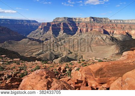 View Of Surprise Valley From Edge Of Esplanade In Grand Canyon National Park, Arizona On Summer Morn