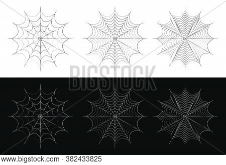 Spider Web Icon Of Different Density. Design Element For Halloween. Black And White Vector