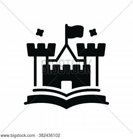 Black Solid Icon For Tale Narrative Fable Story Saga Novel  Fort Citadel Castle History Moral-tale
