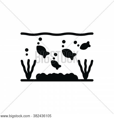 Black Solid Icon For Under Below Underneath Beneath Bottom Underwater Fishes Aquarium Aquatic Marine
