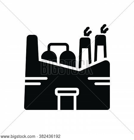 Black Solid Icon For Factory Plant Manufacturing Industry Smokestack Chemical Mill Nuclear-plant Ref