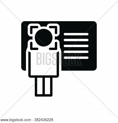Black Solid Icon For Identify Info Recognize Advice Instruction Card Enquiry Information Identificat