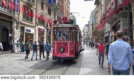 Istanbul, Turkey - May, 22, 2019: Looking Towards The Taksim-tunel Tram In Istanbul