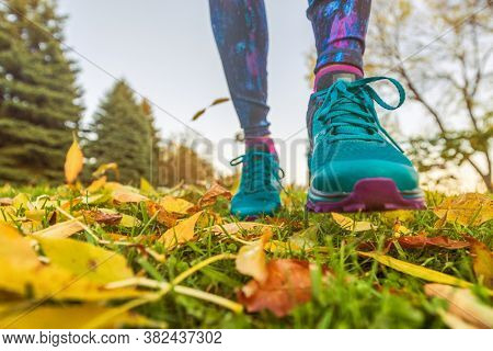 Walking outdoor in autumn nature park. Woman going outside taking a step with running shoes in yellow fall leaves.