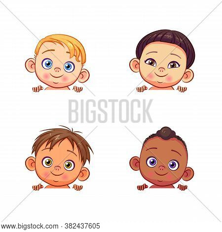 Vector Set Of Multi-ethnic Baby Boys Holding A White Banner. Cute Kids Of Different Races With Vario