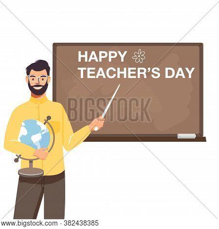 School Time Or Back To School Illustration. School Teacher Teach At Blackboard In Classroom. Teacher