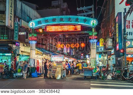 September 11, 2015: Night View Of The Entrance Of Linjiang Street Night Market In Taipei, Taiwan, On