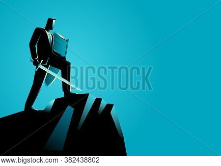 Business Concept Vector Illustration Of An Optimistic Businessman Holding A Sword And Shield Standin