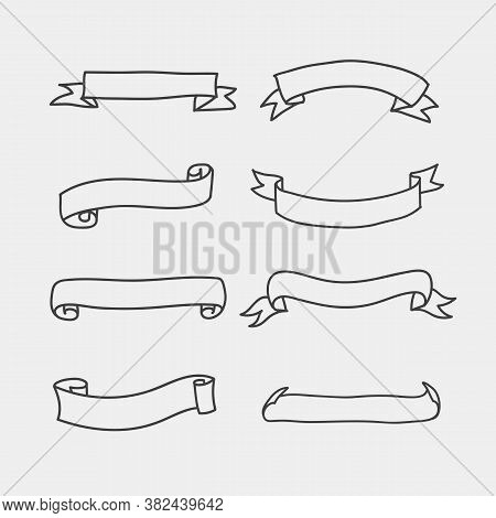 Set Vintage Hand Draw Banner Isolated Vector
