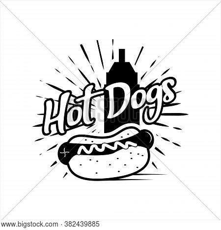 Hot Dogs Vintage Logo Design Template. American Street Food Recipes Label Or Print Inspiration