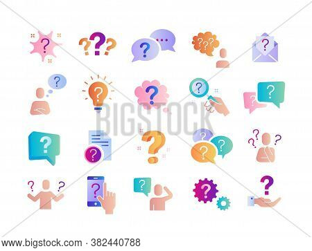 Large Set Of Question, Query Or Confusion Icons With A Variety Of Question Marks For Colorful Vector
