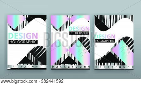 Holographic Abstract Page Templates Set, Retro Wave Glitch Creative Hipster Neon And Pastel Gradient