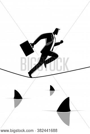 Silhouette Illustration Of A Businessman Running On Rope With Sharks Underneath. Concept For Take Ri