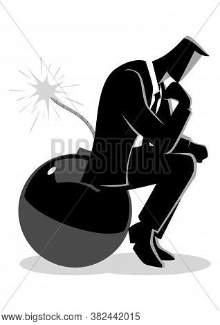Business Concept Illustration Of A Businessman Sitting On A Bomb While Thinking, Running Out Of Time