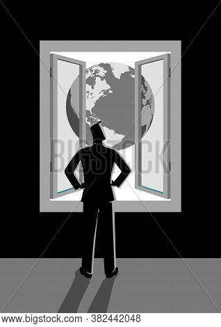 Business Concept Vector Illustration Of Businessman Looking Through Window With Planet Earth View