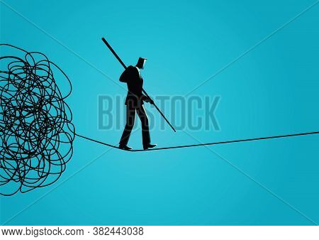 Business Concept Vector Illustration Of A Businessman Walking Away Carefully From Tangled Rope By Ho