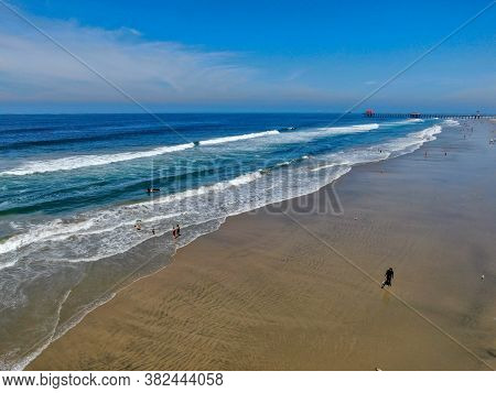 Aerial View Of Huntington Beach And Coastline During Hot Blue Sunny Summer Day, Southeast Of Los Ang