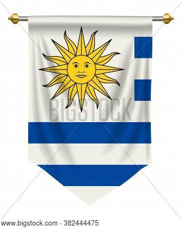 Uruguay Flag Or Pennant Isolated On White